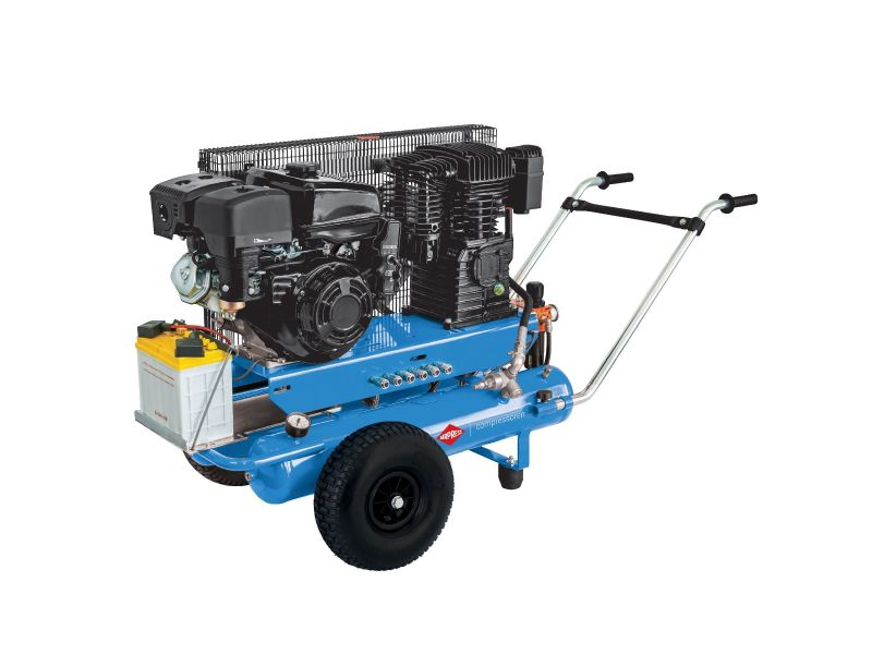Mobiele Benzine Compressor BM 17+17 10 bar 5.5 pk/4 kW 450 l/min 2 x 17 l