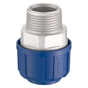 """Rechte aluminium koppeling 20 mm 1/2"""" uitwendig"""