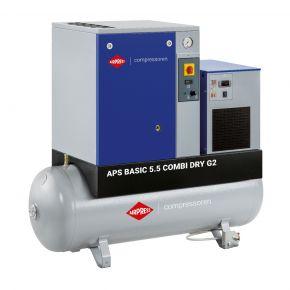 Schroefcompressor APS 5.5 Basic G2 Combi Dry 10 bar 5.5 pk/4 kW 516 l/min 200 l