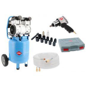 Stille Olievrije Compressor LMVO 40-250 8 bar 2 pk/1.5 kW 150 l/min 38 l Plug & Play
