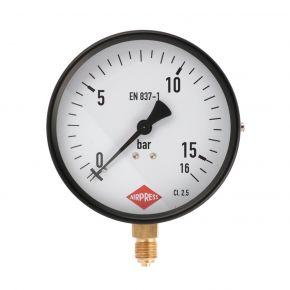 """Manometer  1/4"""" 16 bar onder aansluiting 100 mm"""