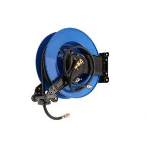 """Luchtslanghaspel hybride polymeer muurhaspel zelfoprollend 3/8"""" buitendraad 10 x 13.5 mm 15 m 15 bar"""